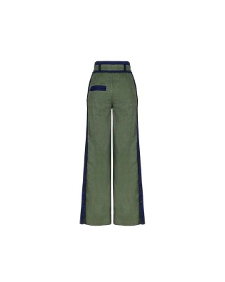 Wide-cut denim pants with contrasting elements