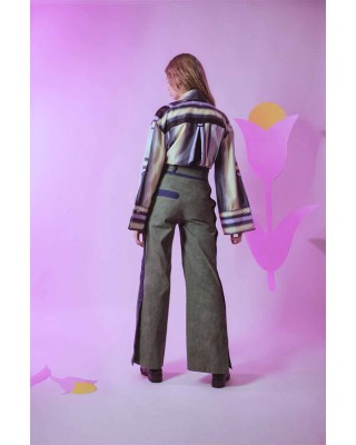 Джинсові брюки широкого крою з контрасними елементами