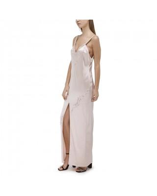Приталена сукня з відкритою спиною і розшитими перлами бретельками