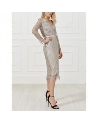 Мереживна сукня з довгим рукавом