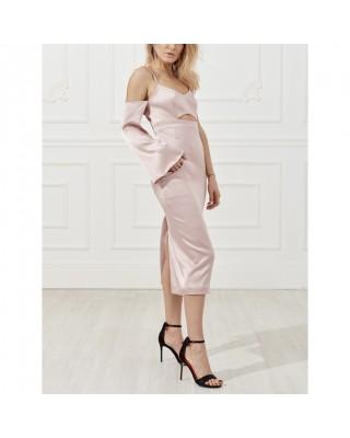 Сукня-комбінація з одним рукавом і декоративним вирізом спереду
