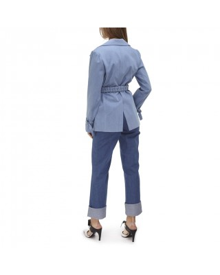 A fitted jacket with patch pockets and a removable belt