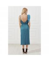 Сукня міді з декоративним елементом із пера