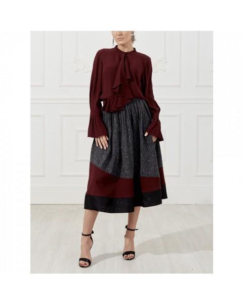 Midi skirt with assymetric print