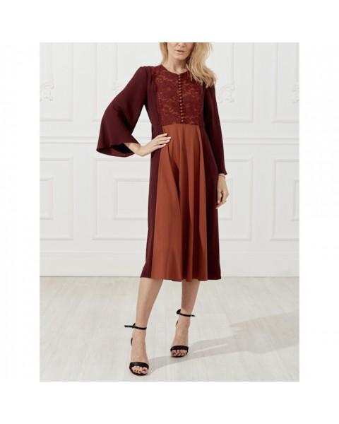 Сукня міді з мереживом і  широкими рукавами
