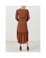 Сукня-міді із шовку з воланом