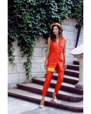 Coral hand-embroided vest