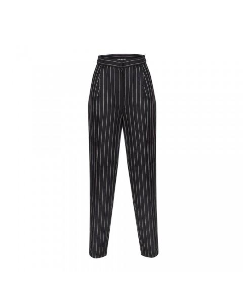 Чорні брюки-дудочки в полоску