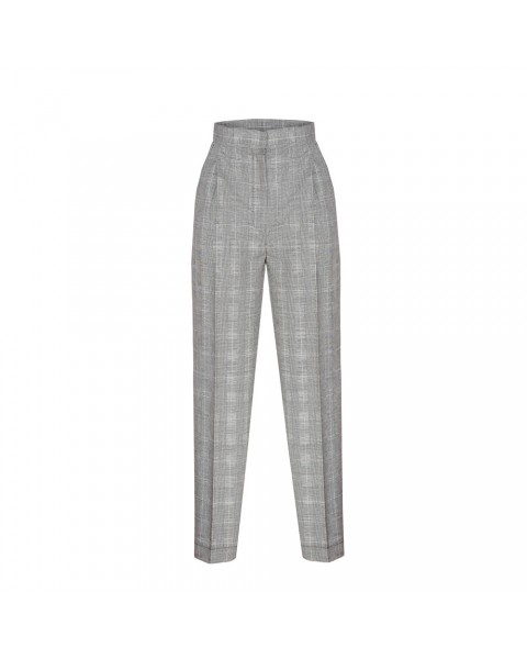 Сірі брюки-дудочки в клітинку