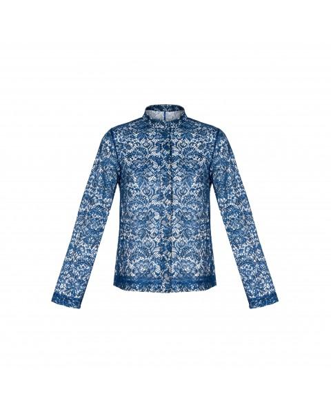 Напівпрозора блуза на гудзиках