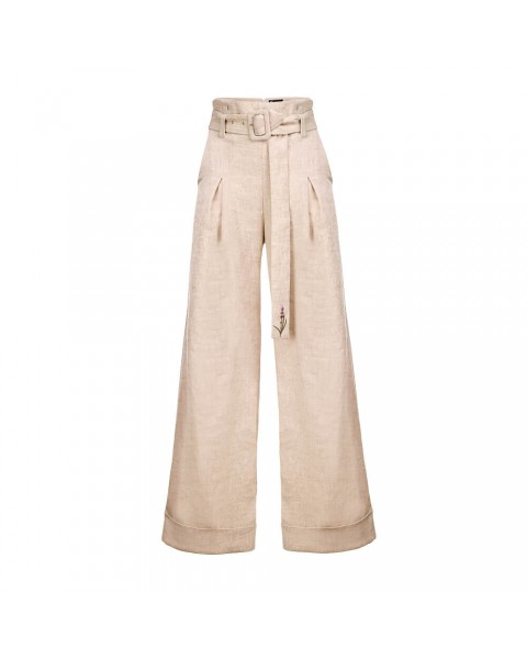Широкі брюки високої посадки на зйомному поясі, декорованим вишивкою (лаванда)