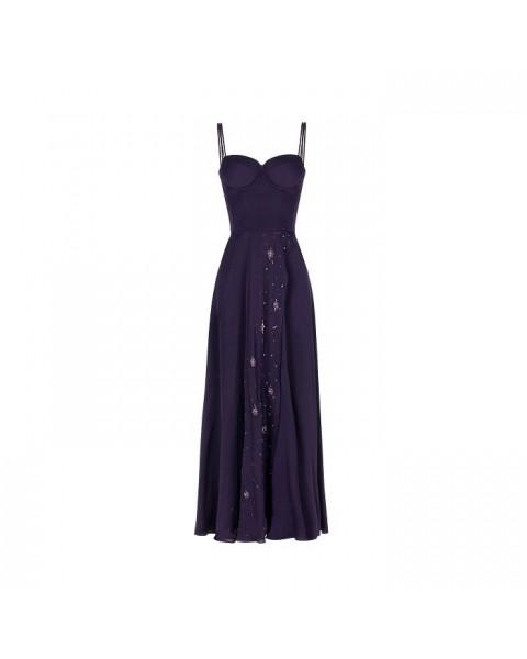 Сукня-бюстьє на тонких бретелях з глибоким розрізом, вручну розшита бісером і стеклярусом