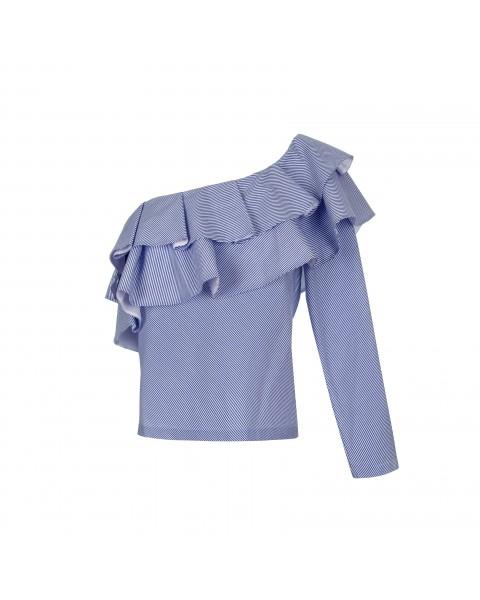 Укорочена приталена блуза з одним рукавом та декором із рюш