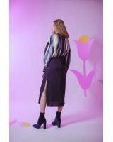 Міді-сукня із шовку на кулісці з розрізами по боках