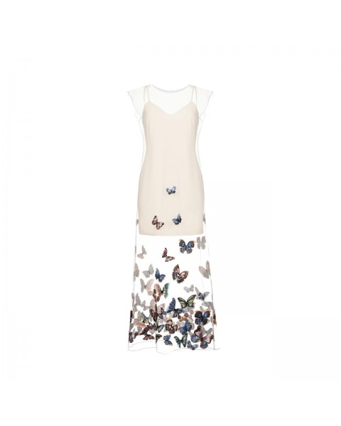 Приталена сукня з футляром до коліна і вишивкою ''метелики''