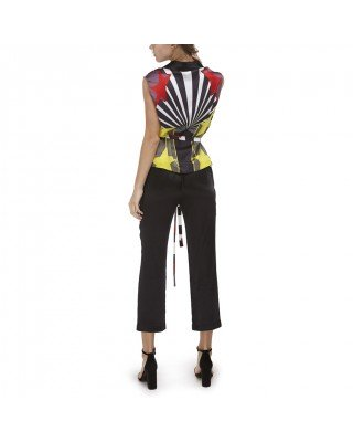 Printed silk vest with belt