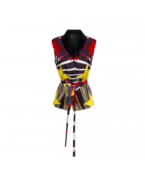 Printed silk vest with belt