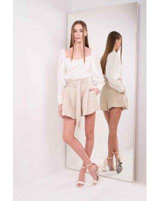 Блуза с квадратным вырезом и шнуровкой на спине