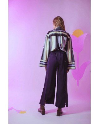 Wide-cut silk trousers with decorative garter and side cuts