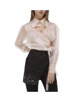Блуза із шовкової органзи з мереживними вставками