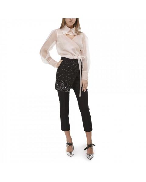 Чорні брюки-дудочки з вишитим фартухом