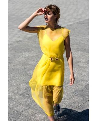 Сукня-майка з футляром жовтого кольору