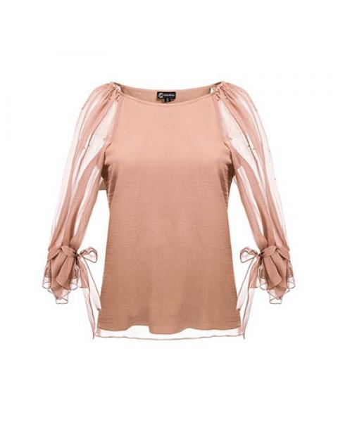 Блуза із шовку з зав'язками на рукавах, декорована вручну пришитими намистинами