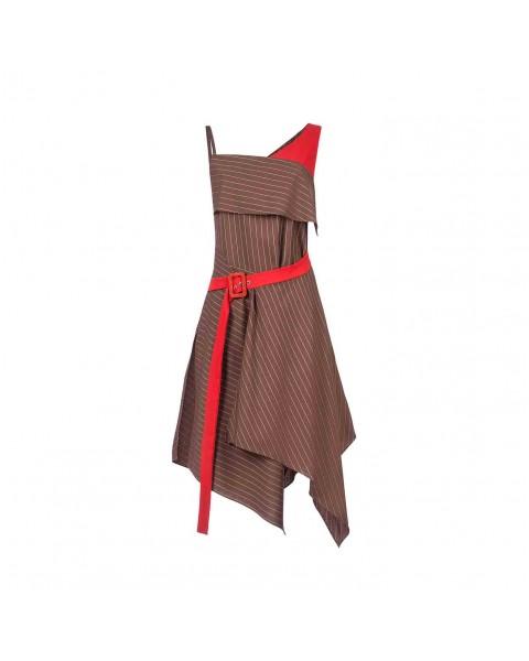 Асиметрична сукня зі вшитим поясом