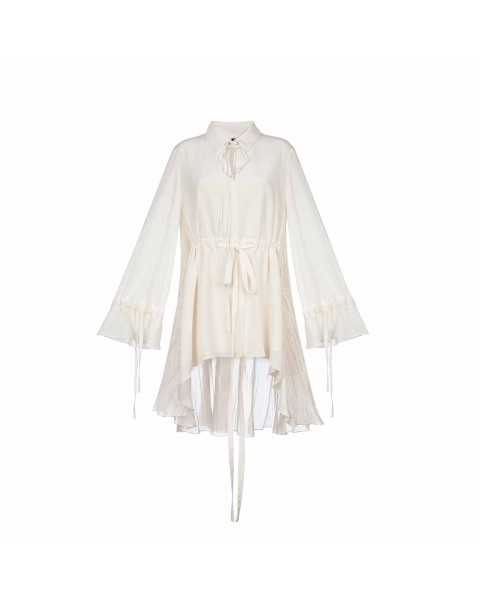 Сукня-піжама з широким рукавом і кулісками
