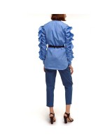 Cotton shirt with ruffles on the sleeves