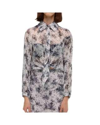 Рубашка-бомбер із шовку з вирізами