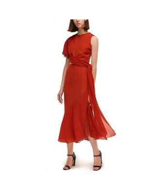 An assymetric dress with ruffles