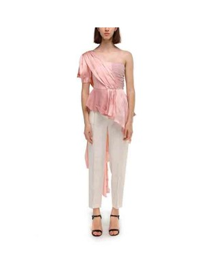 Silk ruffled blouse with one sleeve